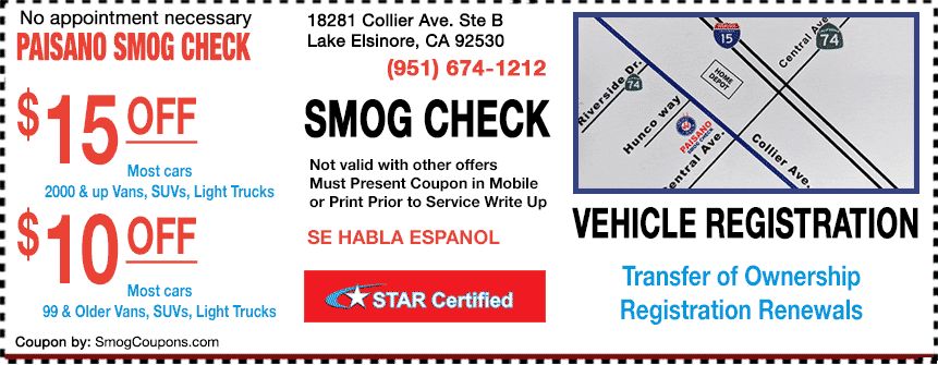 Smog Coupon Lake Elsinore