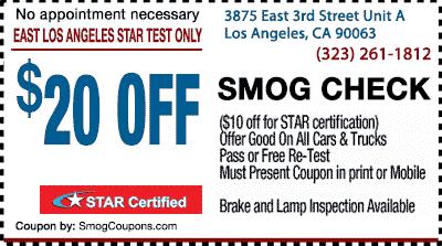 east los angeles star test only smog coupons. Black Bedroom Furniture Sets. Home Design Ideas